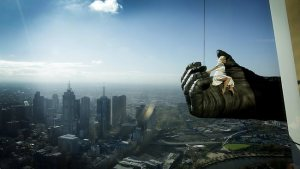 Leigh-Ann Vizer is suspended from the Eureka Tower, promoting King Kong which opens in Melbourne on June 15. Picture: Nicole Cleary
