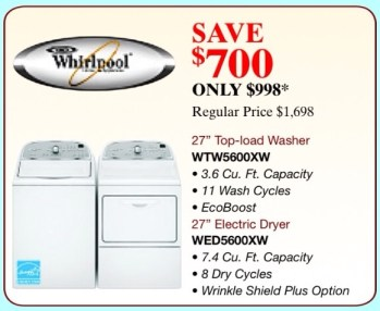 Whirlpool Washer/Dryer Sale