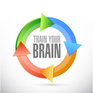 a cycle of four arrows in a circle with train your brain in the middle