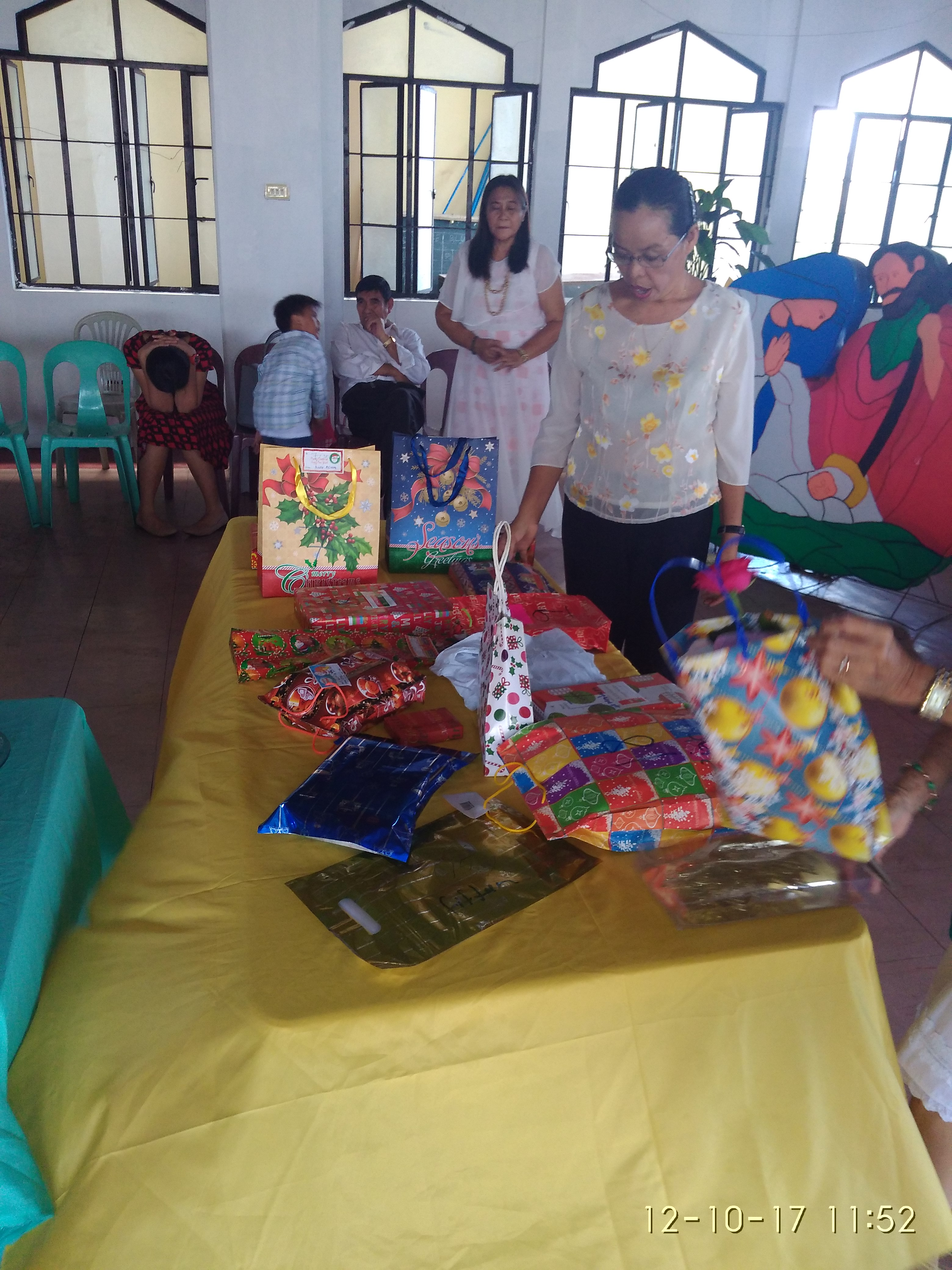 Exchanging gifts . . .