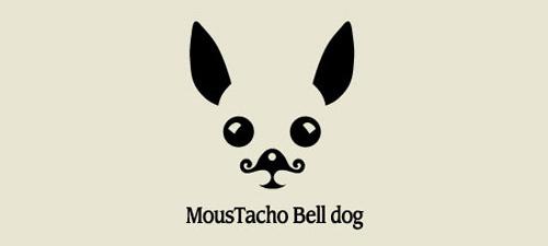 moustacho bell dog animal logo design