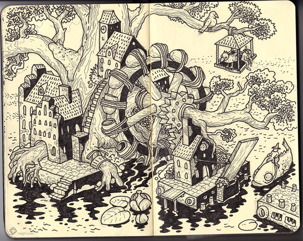 Sketchbook Illustration by Oleg Tischenkov via YouTheDesigner.com