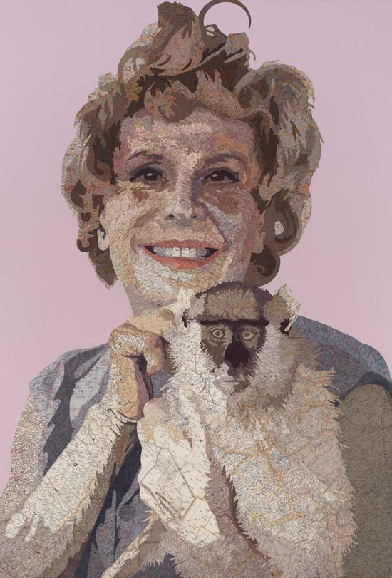 Leni, 2012 Inlaid maps, acrylic, dye, on panel by Matthew Cusick