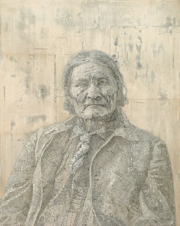 Geronimo, 2007 Inlaid maps on panel by Matthew Cusick