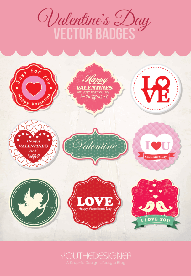 Valentines Day Vector Badges by You The Designer
