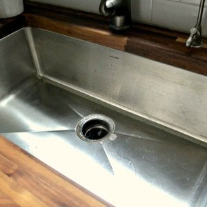 butcher block undermount stainless sink