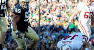 Notre Dame defensive end Pat Kuntz (96) sacks Stanford quarterback Tavita Pritchard (14) during the Notre Dame Fighting Irish 28-21 win over the Stanford Cardinal at Notre Dame Stadium in Notre Dame, Indiana. (Photo: Andy Altenburger/Icon SMI)