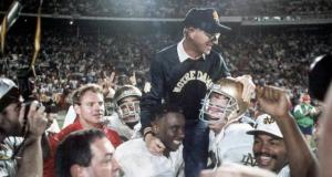 Jan 1, 1990; Miami, FL, USA; FILE PHOTO; Notre Dame Irish head coach Lou Holtz is carried off the field following their victory over Colorado in the Orange Bowl. Mandatory Credit: Photo By USA TODAY Sports © Copyright USA TODAY Sports