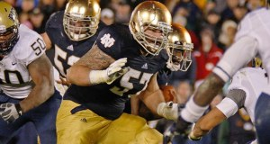 Notre Dame OG Mike Golic Jr. in game action during the NCAA football game between the Pittsburgh Panthers and the Notre Dame Fighting Irish at Notre Dame Stadium in South Bend, IN. (Photo - Matt Quinnan/Icon SMI)