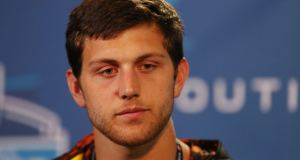 Notre Dame tight end Tyler Eifert speaks at a press conference during the 2013 NFL Combine at Lucas Oil Stadium. (Photo - Brian Spurlock / USA TODAY Sports)