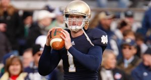 Former Notre Dame quarterback Gunner Kiel - shown here warming up before Notre Dame's 2012 game against Pittsburgh - has decided to transfer to Cincinnati. (Photo - Matt Quinnan/Icon SMI)