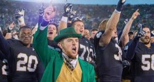 Oct 4, 2014; South Bend, IN, USA; The Notre Dame leprechaun cheers after the Notre Dame Fighting Irish defeated the Stanford Cardinal 17-14 at Notre Dame Stadium. Mandatory Credit: Matt Cashore-USA TODAY Sports