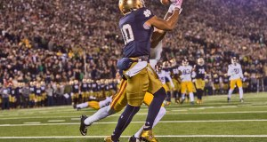 Notre Dame TE Alize Jones (Photo: (Photo: Zach Bolinger // Icon Sportswire)