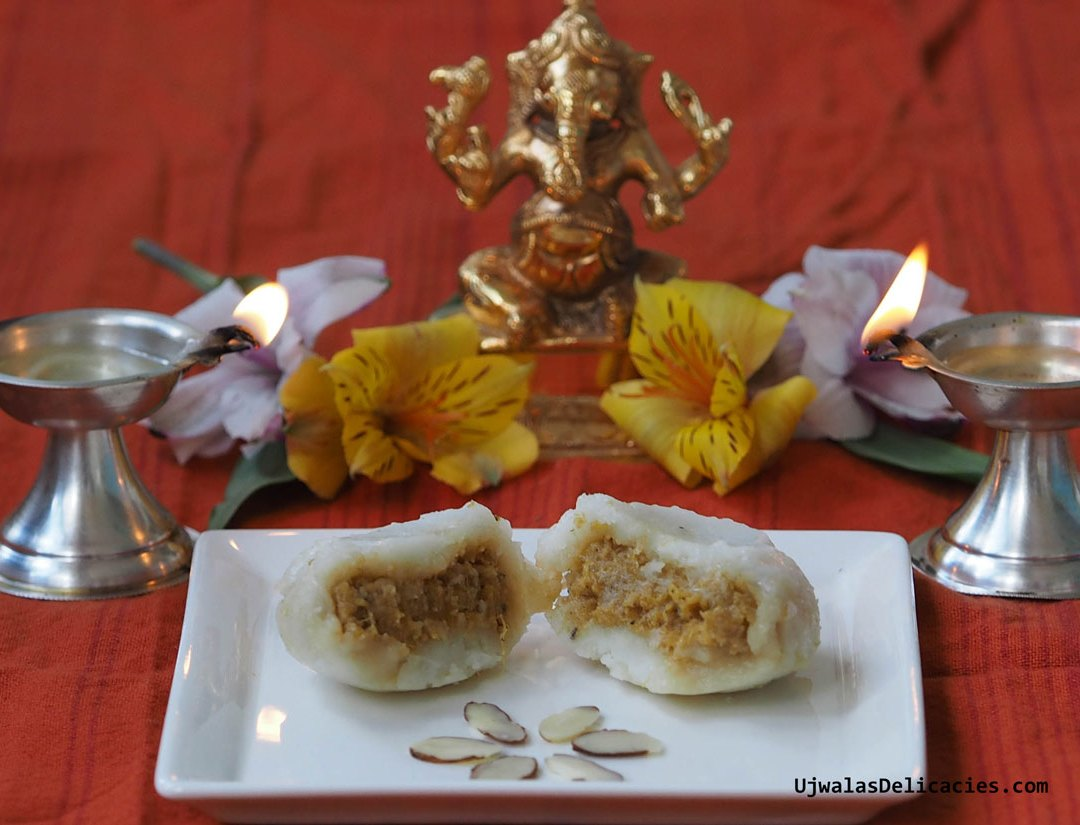 Sweet potato, cashew stuffed steamed modak