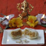 Sweet potato stuffed steamed modak