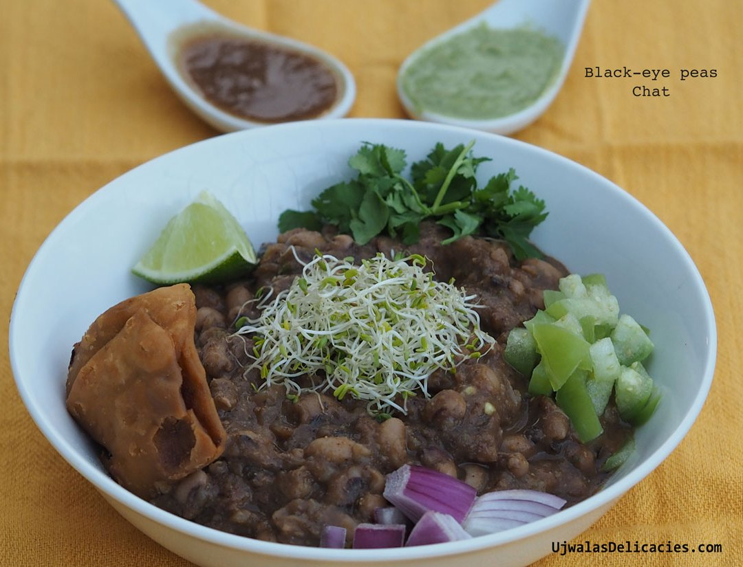 Black eye peas, samosa with alfalfa sprouts chaat
