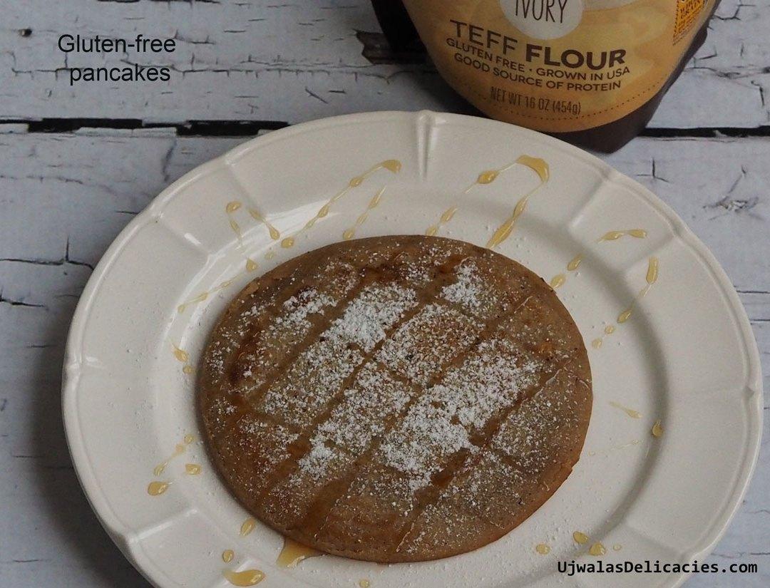 Gluten-free Teff flour pancakes in 10 minutes