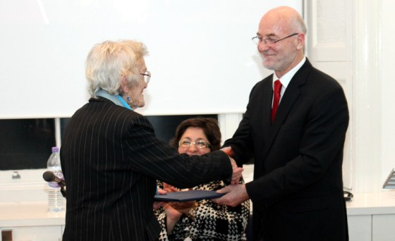 Presenting honour certificate to Dr. T. Scarlett Epstein OBE