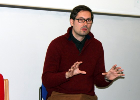Dr Eckehard Pistrick talking during Albanian Film Screening Day: Visual Approaches to Society and Culture at at University College London