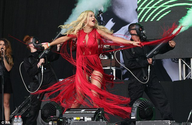 Rita Ora today at the Glastonbury festival