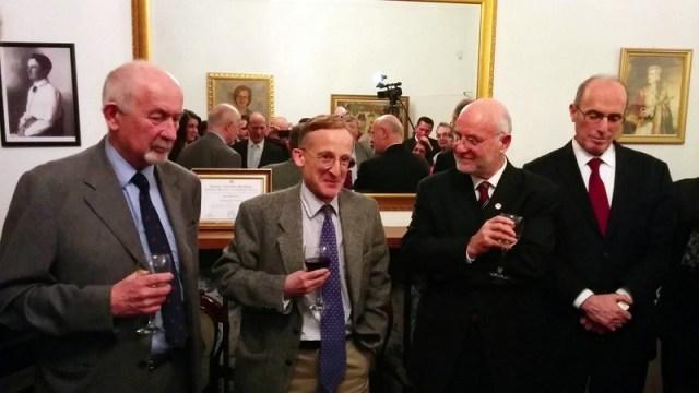 From left to right: Chair of AAA Mr Stephen Nash CMG, Sir Noel Malcolm, Ambassador at Embassy of Albanian, Mr Mal Berisha and the deputy Ambassador at Embassy of Kosovo, Mr Bejtullah Destani.