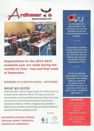 Shkollat shqipe - Shoqata Ardhmeria ne Londer
