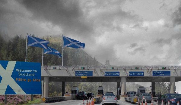 Montazhe artistike e kufirit te Skocise se pavarur.