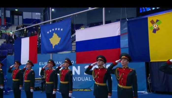The flag of Kosova alongside the Russian flag with soldiers saluting was a premier in sports