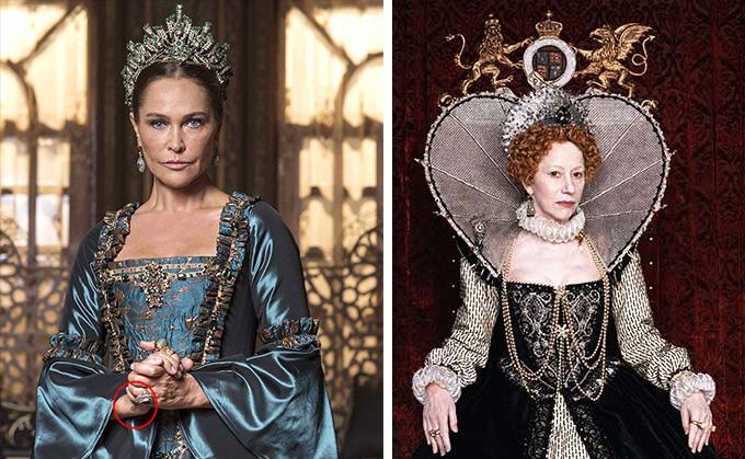 Sultana Safiye (played by Turkish star Hülya Avşar); right: Elizabeth I (played by English actress, Helen Mirren).