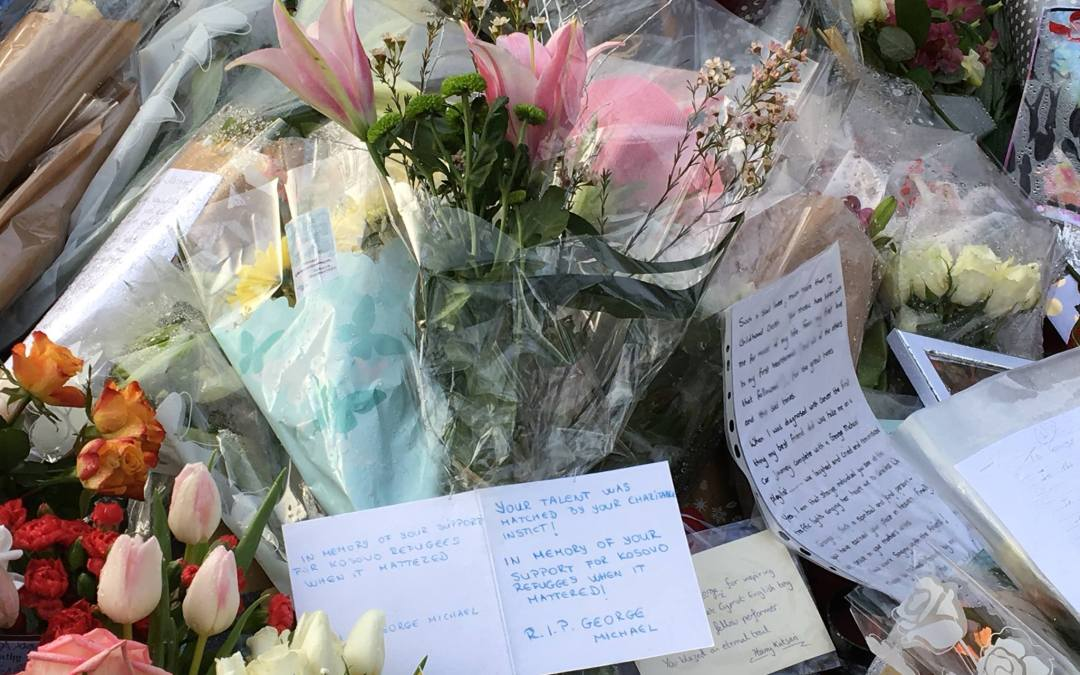 British Albanians continue to pay tribute at the front of George Michael's home