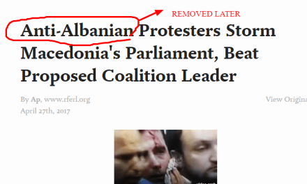 Radio Free Europe delete part of an article title with anti-Albanian reference