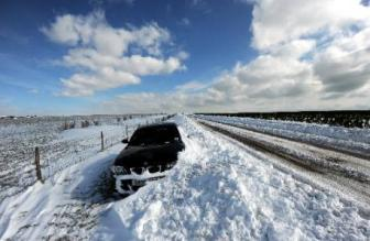 stranded car in extreme weather