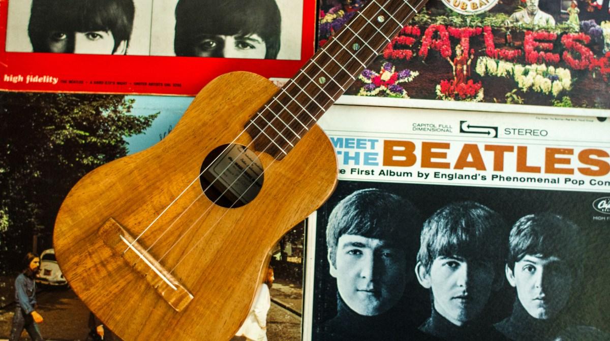 the beatles ukulele john lennon ringo starr george harrison paul mccartney uke lessons meet the beatles
