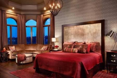 romantic red master bedroom design