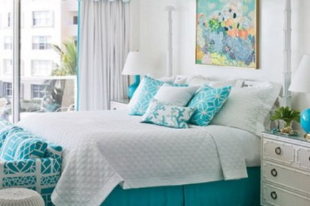 soothing blue themed guest room decor