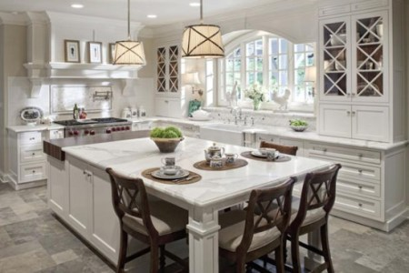large white kitchen island with extended seating