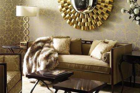 stunning golden round decorative mirror