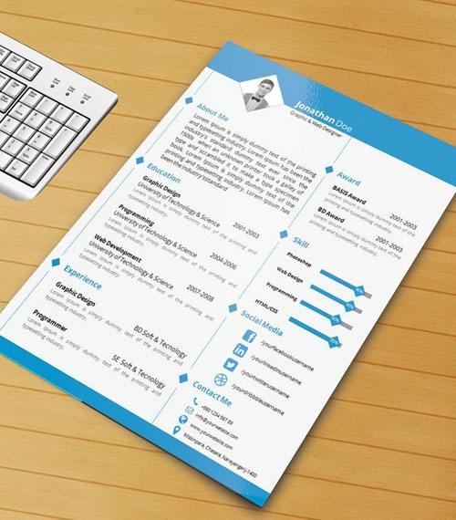 resume template with ms word file