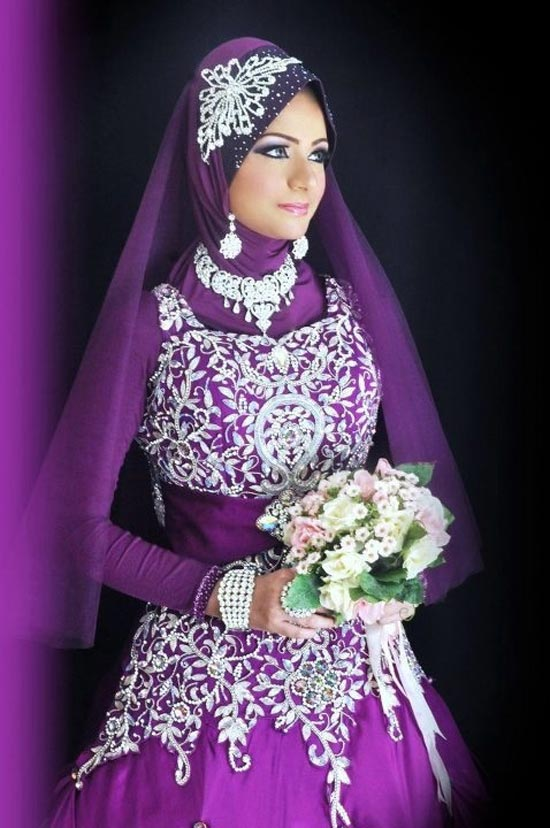 Purple bridesmaid dresses for Muslim wedding dress photo