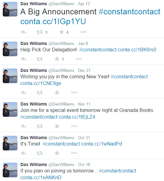Das Williams on Twitter, constantly promoting constant contact