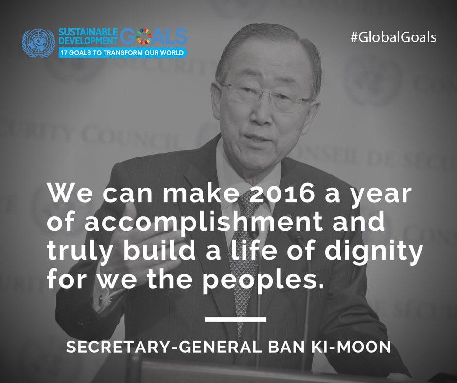 Image: Secretary-General Ban Ki-moon wants to make 2016 a year of accomplishment.