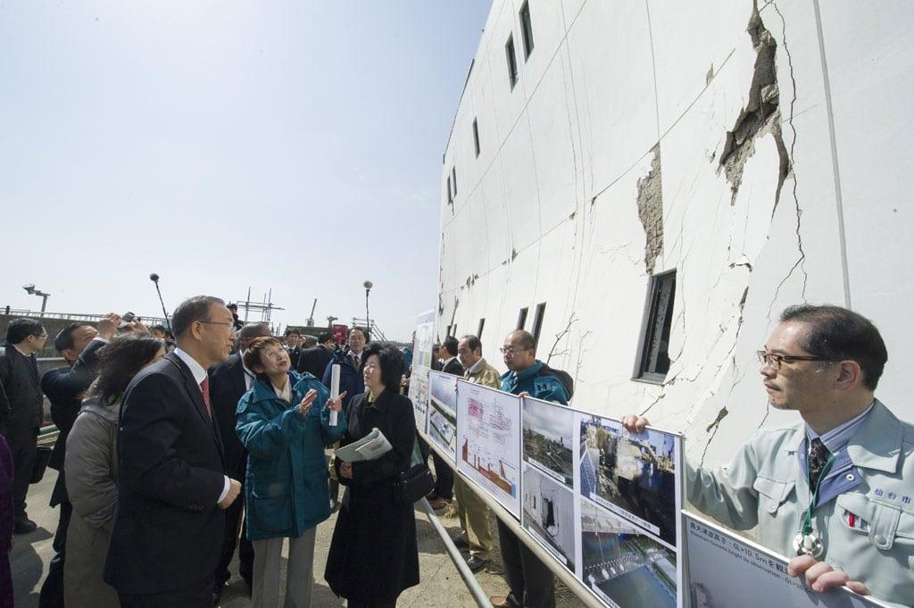 Secretary-General Ban Ki-moon visits site of Minami Gamo Wastewater Treatment Plant in Sendai, Japan, impacted by 2011 earthquake and tsunami. UN Photo/Eskinder Debebe