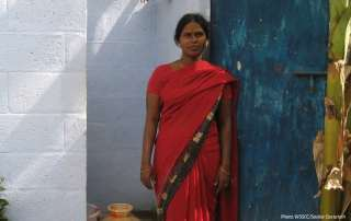 woman in front of toilet