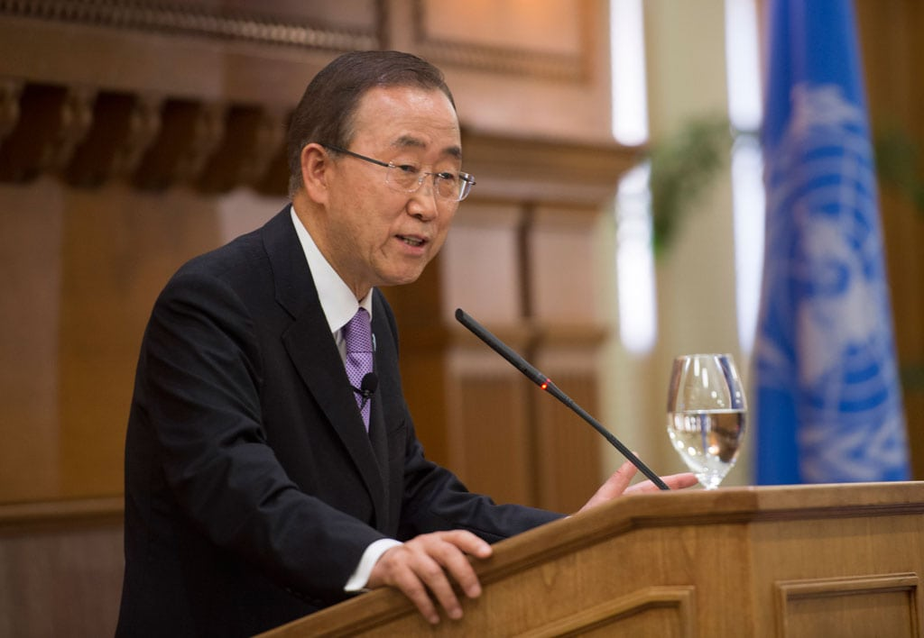 Secretary-General Ban Ki-moon delivers a speech at Stanford University in California, entitled 'The UN at 70'. June 2015 San Francisco, United States UN Photo/Mark Garten