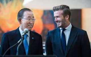 Secretary-General Ban Ki-moon with David Beckham, Goodwill Ambassador for the UN Children's Fund (UNICEF). UN Photo/Amanda Voisard