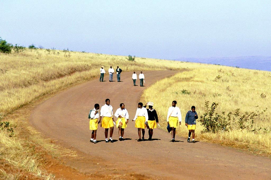 Photo: Children walk to school in South Africa.