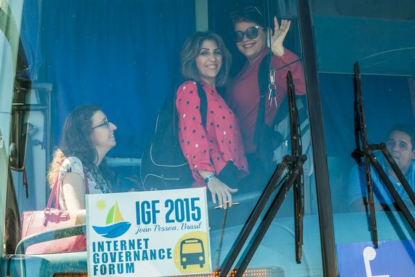 Photo: Participants get on the bus for Day 0 of the Internet Governance Forum in Joao Pessoa, Brazil.