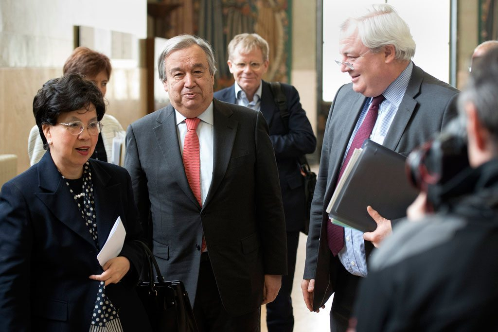 Photo: UN officials arrive at the launch of the Global Humanitarian Appeal 2016.
