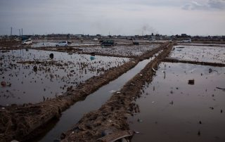 Photo: On 14 March 2011, tsunami damage extends to the horizon, in the city of Sendai, in Miyagi Prefecture, Japan.