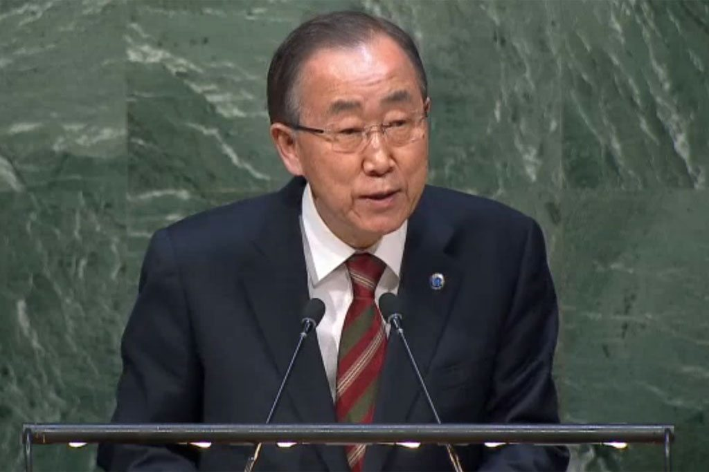 Photo: Secretary-General Ban Ki-moon delivers informal briefing to the General Assembly.